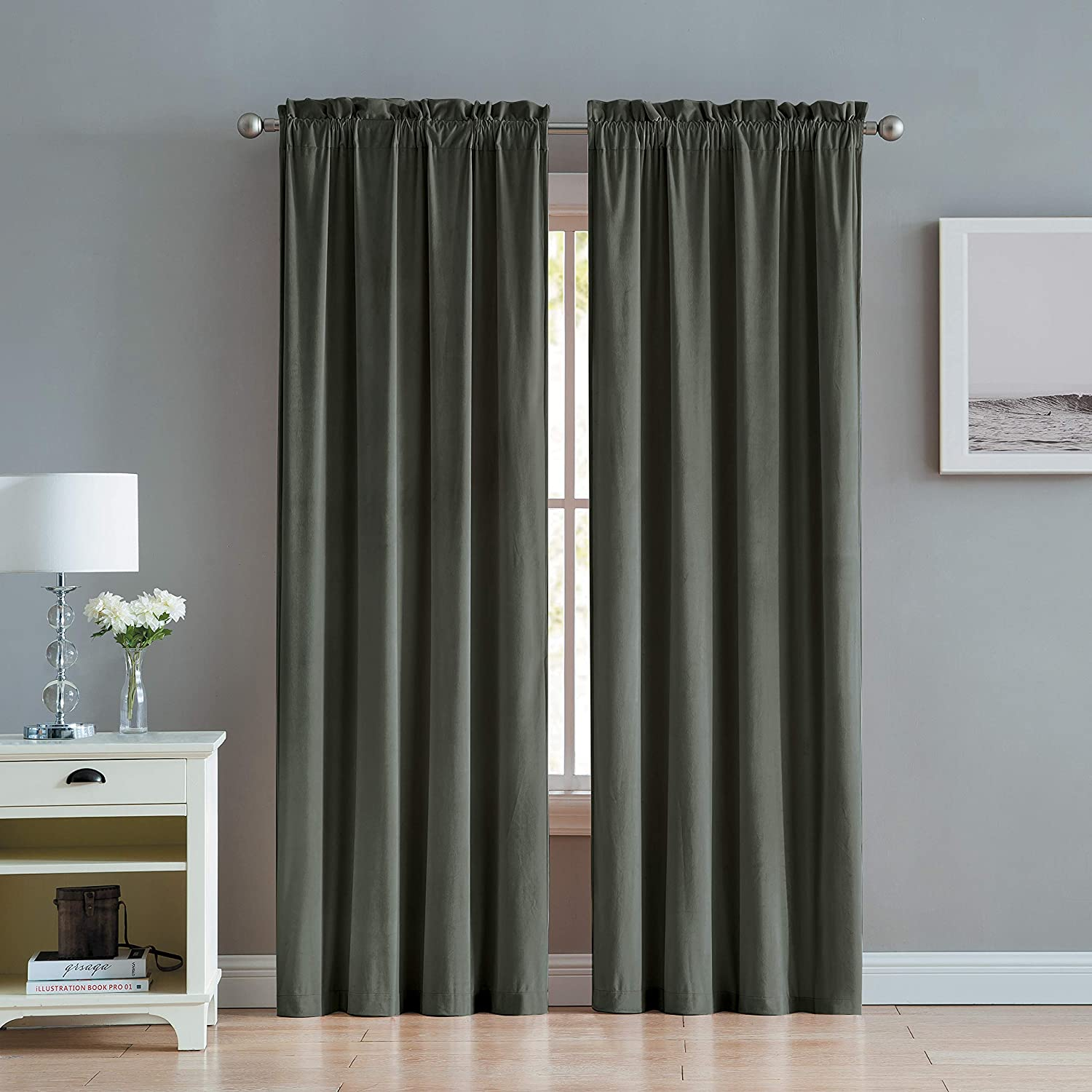 VCNY Home Velvet Window Curtains, 38x84, Charcoal