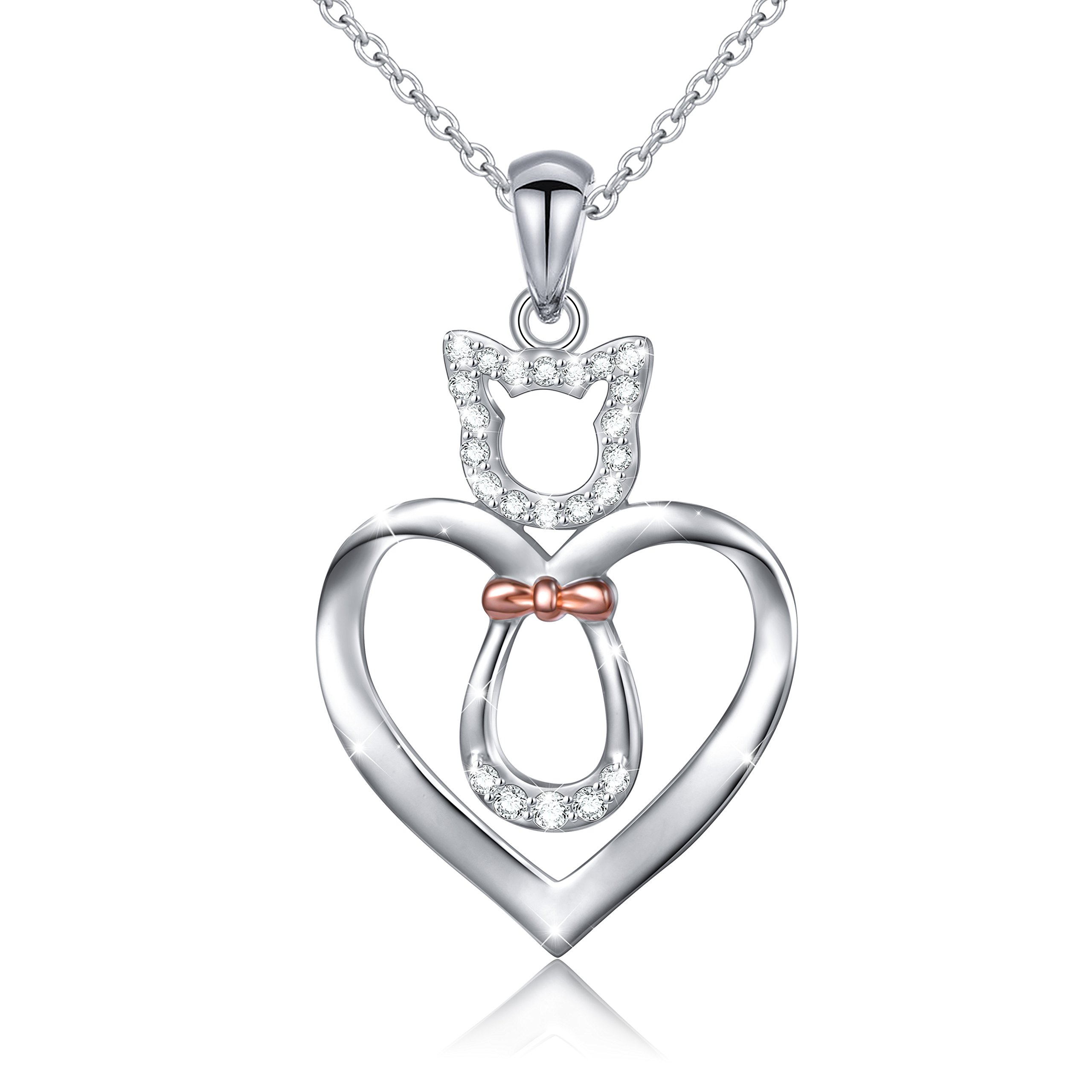 LINLIN FINE JEWELRY 925 Sterling Silver CZ Cute Cat/Puppy Dog Heart Pendant Necklace Gift for Women Girls,18'' (Cat)