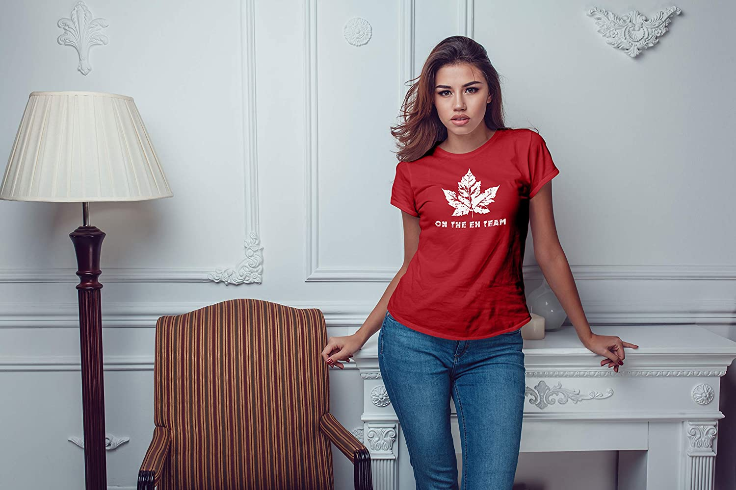 Canadian Pride On The Eh Team 1st July Canada Day Womens Tshirt Funny Maple Leaf