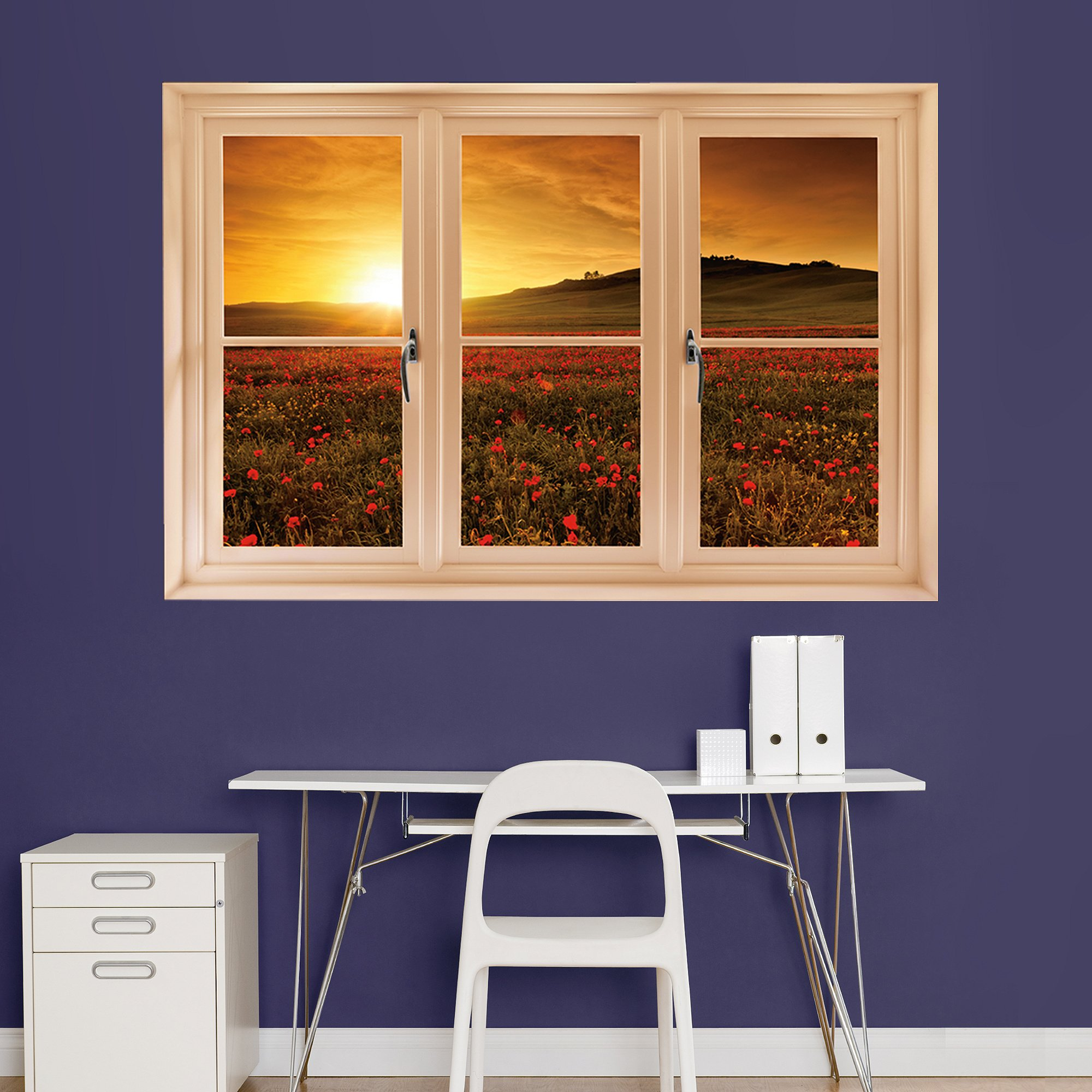 Fathead Wall Decal, ''Poppy Field at Sunset, Tuscany Instant Window''