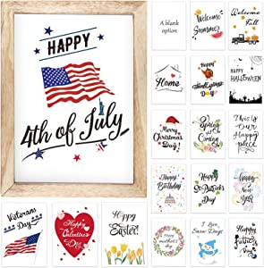 Ackitry Farmhouse Wall Decor Signs with 18 Interchangeable Sayings, 11 x 15 inch Easy To Hang Rustic Wood Picture Frame for Spring Summer Independence Day Seasonal and Holiday Home Decorations