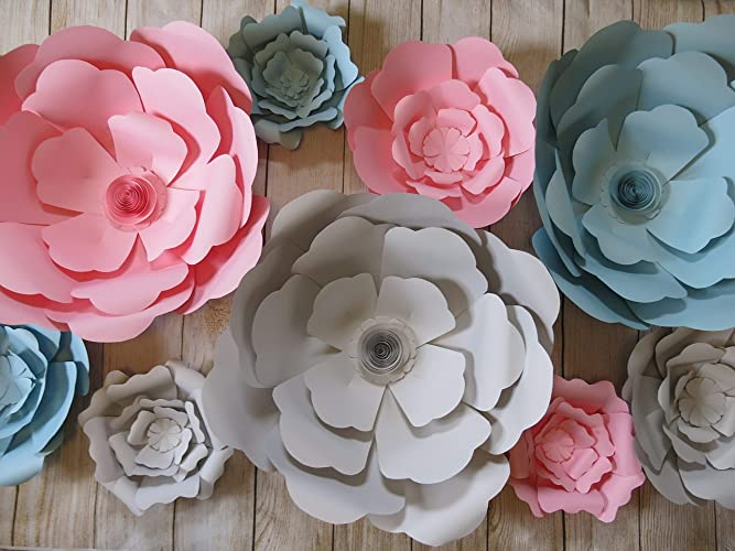 Amazon Com Pastel Giant Paper Flowers Set Of 9 Pink Light Gray