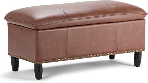 Simpli Home Emily 39 inch Wide Rectangle Lift Top Storage Ottoman in Upholstered Cognac Faux Leather with Large Storage Space for the Living Room, Entryway, Bedroom, Traditional