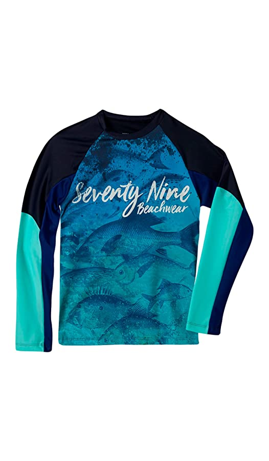 c5a740775 OFFCORSS Big Boys Swimwear Long Sleeve Rashguard Swim Shirt UV Protection