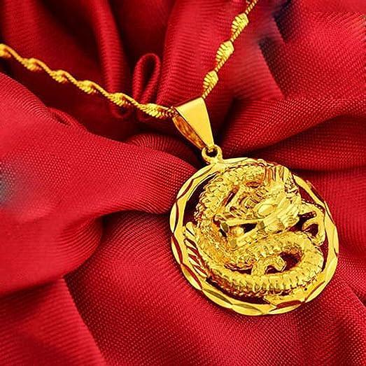 Amazon 24k real gold yellow gold filled golden dragon pendant 24k real gold yellow gold filled golden dragon pendant necklace chain solid women men women ladies aloadofball Choice Image