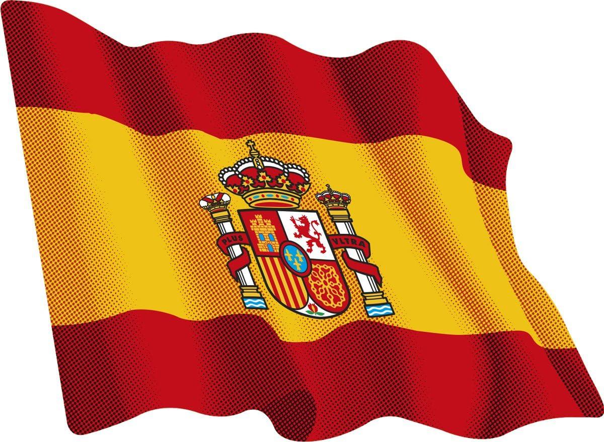 Artimagen Pegatina Bandera Ondeante España 80x60 mm.: Amazon.es: Coche y moto