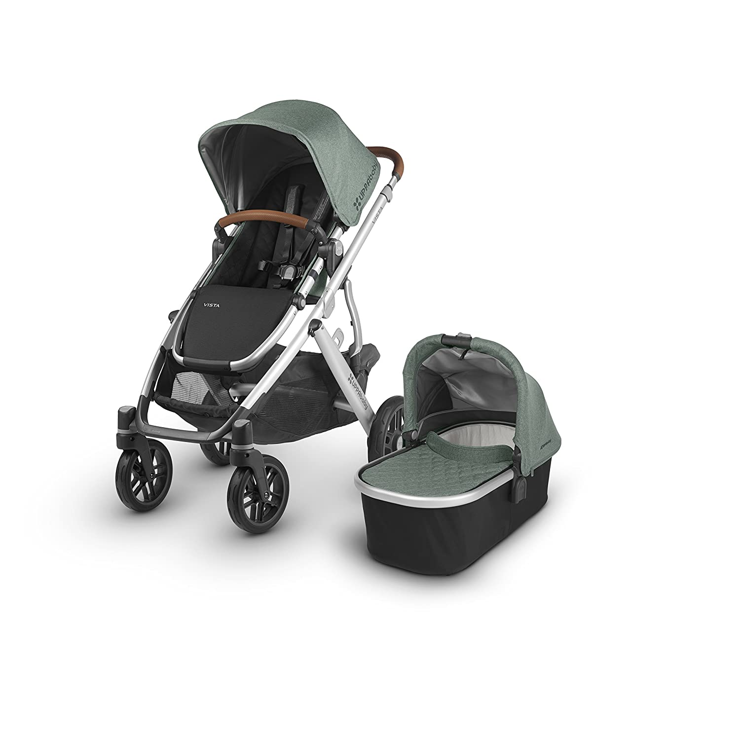 2018 UPPAbaby Vista Stroller - Emmett (Green Melange/Silver/Saddle Leather) 81i7aivePhL