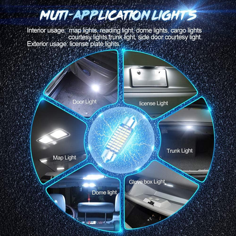 10Pcs 36mm 1.4 LED Bombillas Festoon,C5W 27-3014LED Luz Interior de Coche Fest/ón L/ámpara 12V 6000K Canbus para Luz de la placa del auto Bombillas de techo