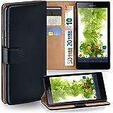 Sony Xperia Z Ultra Hülle Schwarz mit Karten-Fach [OneFlow 360° Book Klapp-Hülle] Handytasche Kunst-Leder Handyhülle für Sony Xperia Z Ultra Case Flip Cover Schutzhülle Tasche