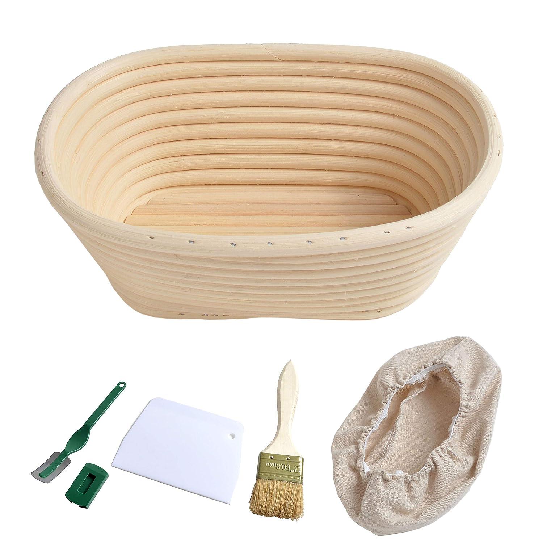 21cm Bread Proofing Basket Bannetons Brotform Oval Sourdough Proving Basket for 400g Dough + Free Brush + Cutter + Linen Liner + Bread Lame grandtobuy