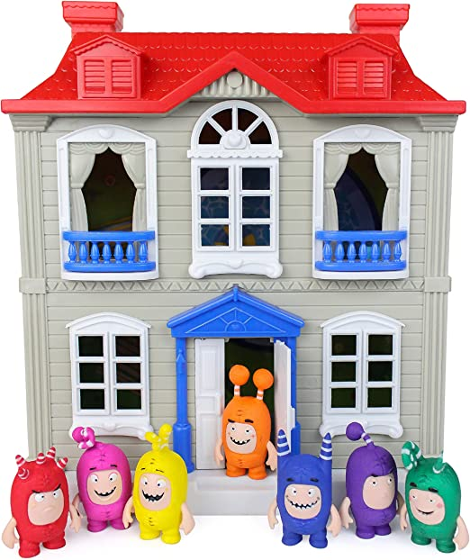 White and Grey House Playset for Kids Oddbods Red Ages 3+ Features Indoor and Outdoor Spaces with Furniture and 7 Detailed Oddbods Figurines