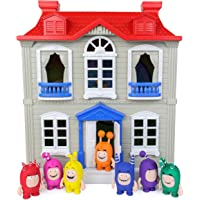 ODDBODS Red, White, and Grey House Playset for Kids - Features Indoor and Outdoor Spaces with Furniture and 7 Detailed…
