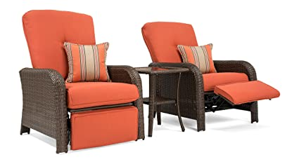 Excellent La Z Boy Outdoor Sawyer 3 Piece Patio Furniture Recliner Bundle 2 Outdoor Recliners And 1 Side Table Grenadine Orange Spiritservingveterans Wood Chair Design Ideas Spiritservingveteransorg