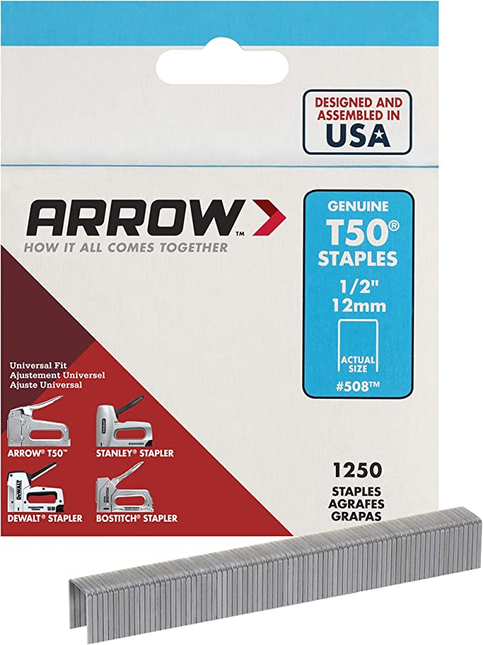 4 x 1250 1//2in Pack 5000 Arrow T5012 T50 Staples 12mm