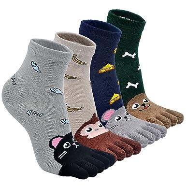dca131b9b1348 Chaussettes Garçon Fille Enfants Chaussettes avec Orteils,Coton Chaussettes  de Sport avec Cinq Doigts à