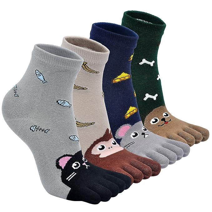 Calcetines de Algodón Cortos para Niñas Calcetines de Deportes con Cinco Dedos,Calcetines De Dibujos