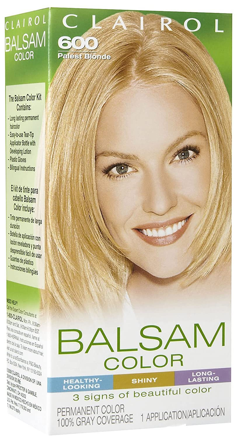 Amazon.com : Clairol Balsam Hair Color, Palest Blonde (600) : Chemical Hair Dyes : Beauty