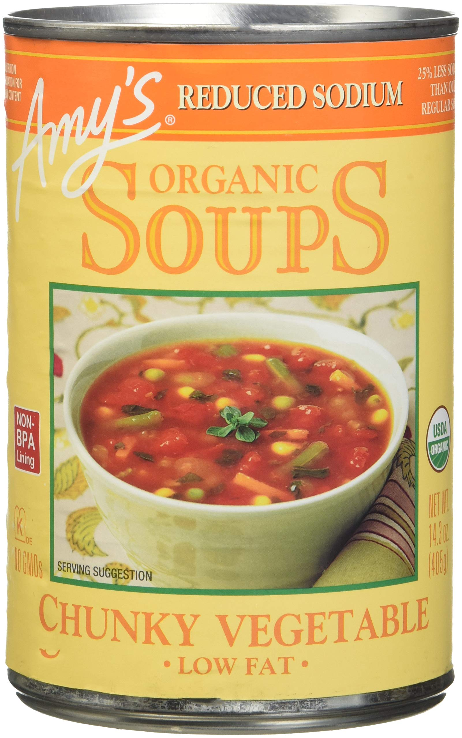 Amy's Soups, Reduced Sodium Chunky Vegetable, 14.3 Ounce (Pack of 12) by Amy's