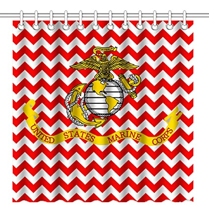 Wknoon 72 X Inch Shower Curtain USMC Marine Corps With Seamless Red Chevron Design