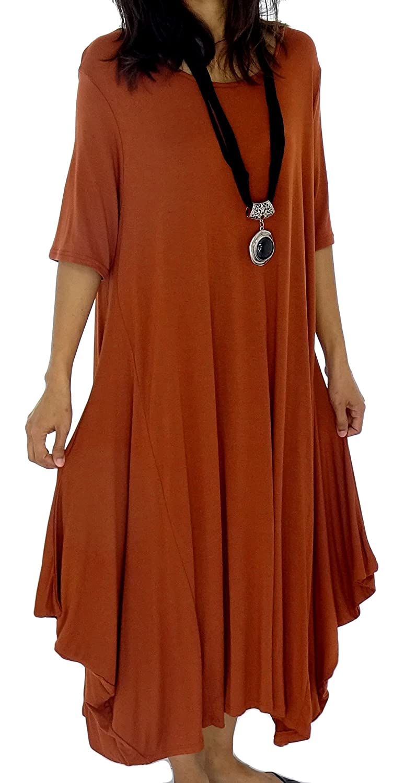Mein Design Lagenlook de Mallorca Damen Kleid HD900 Tunika one size Jersey Ballonkleid Kurzarm Gr. 38, 40, 42, 44 asymmetrisch