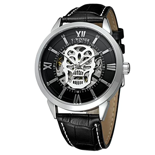 FORSINING Mens Automatic Movement Leather Strap New Brand Fashion Skeleton Wristwatch for Halloween Gift