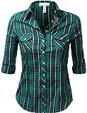 J.TOMSON Womens Long Sleeve Plaid Button Down Shirt
