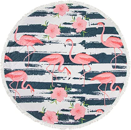 styleBREAKER Redonda Toalla de Playa con Flamencos, Hibisco y Diseño de Rayas, Flecos Toalla