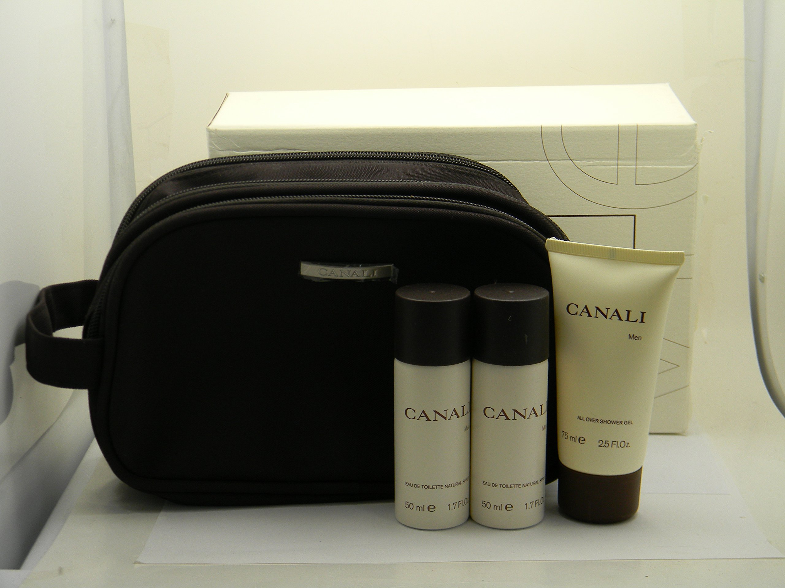 Canali for Men Gift Set - 3.4 oz EDT Spray + 2.5 oz Shower Gel + Deluxe Pouch