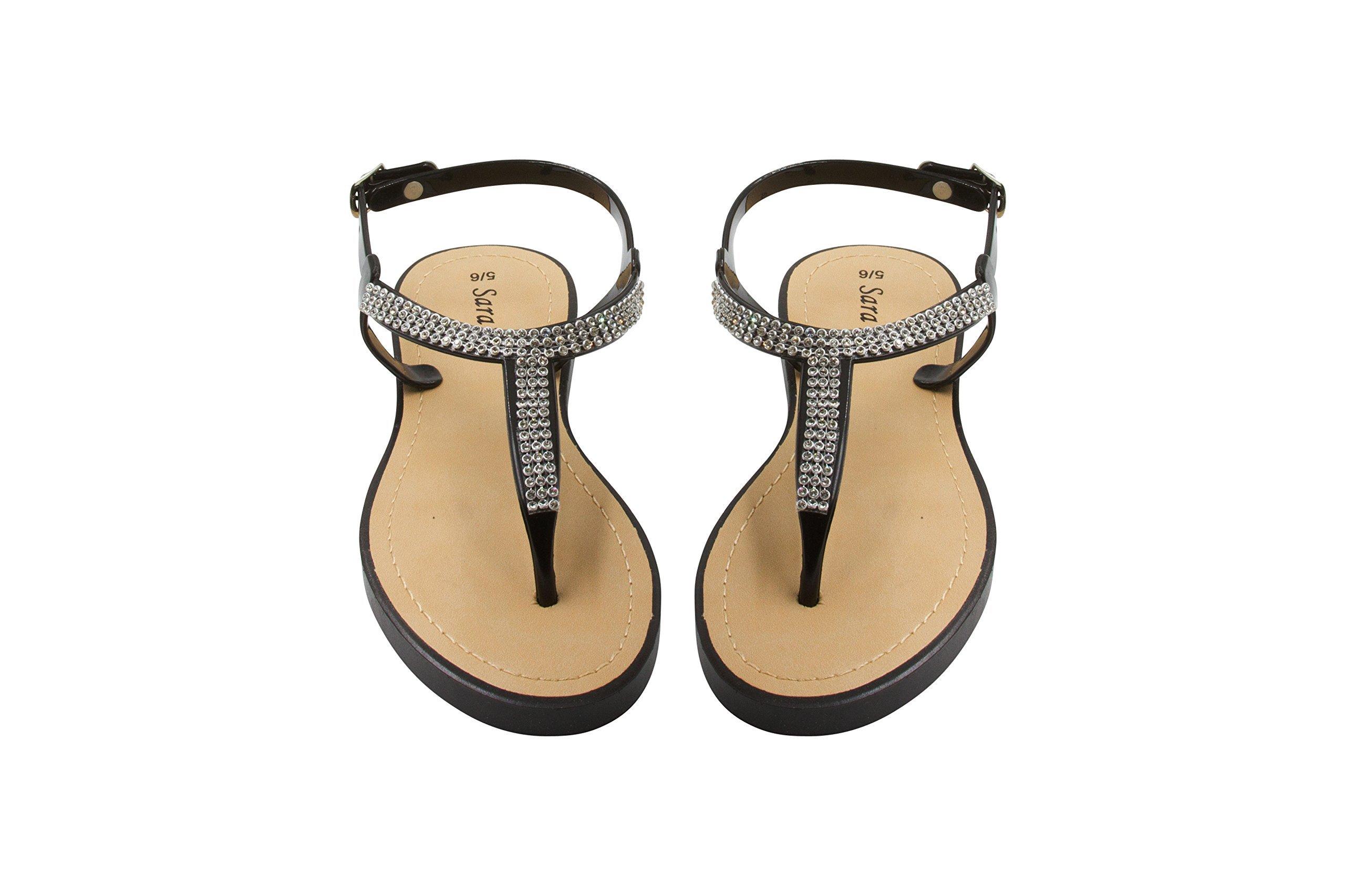 Sara Z Ladies T-Strap PCU Sandal 5/6 Black