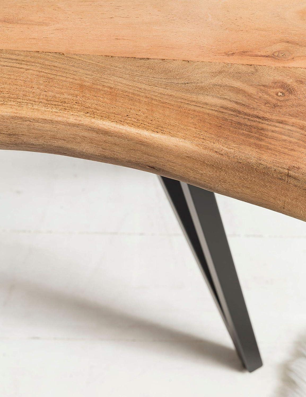 Design Holz Anrichte Konsole massiv Kleiner Landhaus Schreibtisch Flurtisch FineBuy Konsolentisch FB51415 130 x 77 x 48 cm Akazie Massivholz Baumkante Schminktisch Ablagetisch Natur Baumstamm
