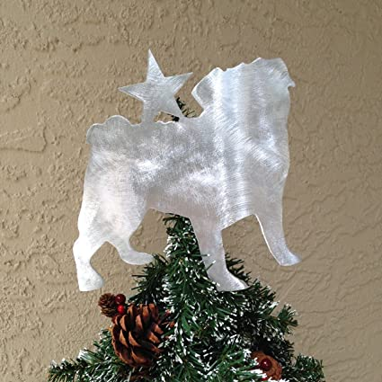 Amazoncom Pug Dog Christmas Tree Topper Wreath Decoration