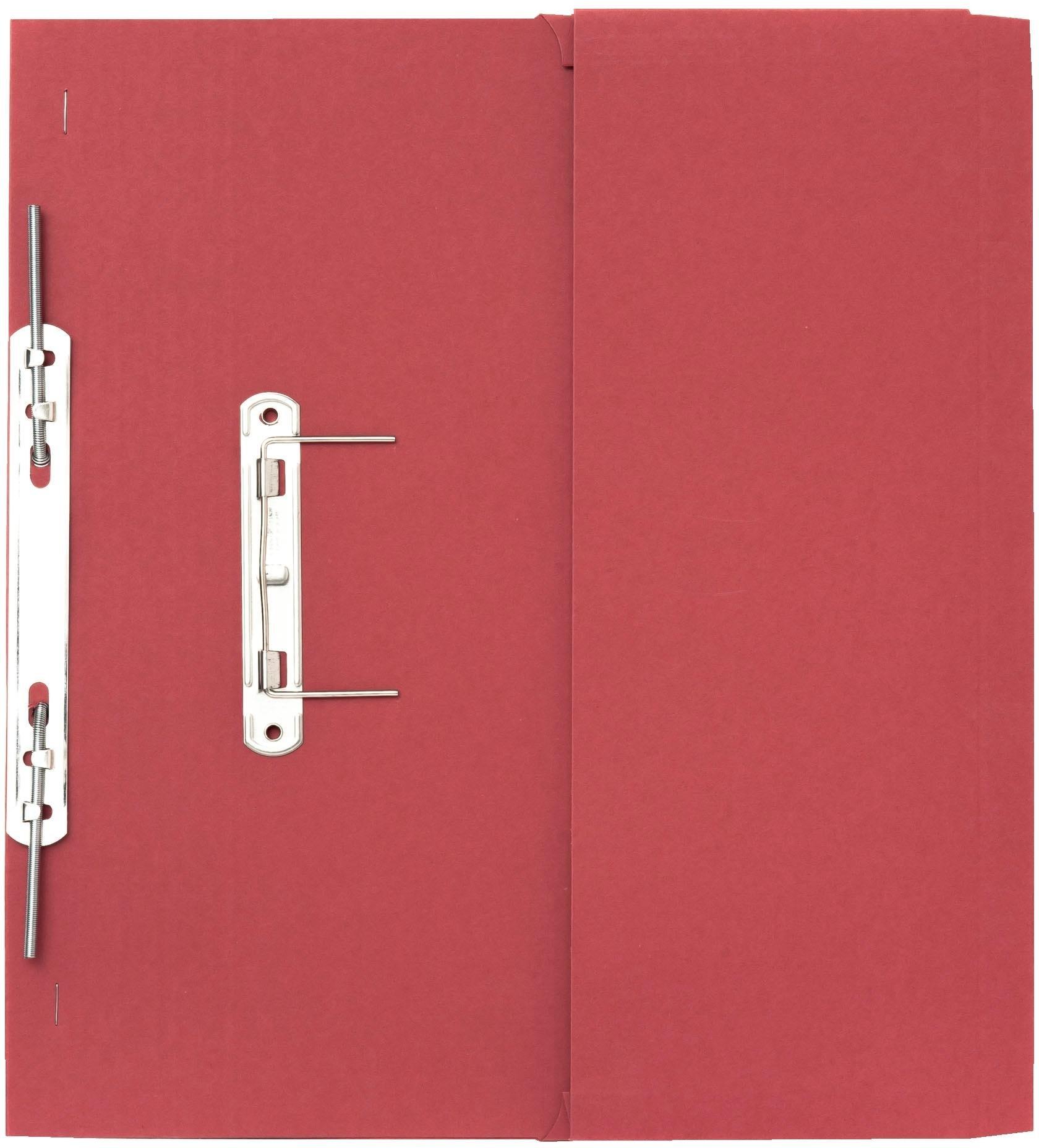 Guildhall 315 gsm Pocket Spiral File, Foolscap, Left Hand Pocket, Red, Pack of 25