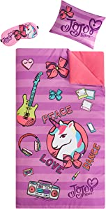 "JoJo Siwa Giftable Sleepover Set with Sleeping Bag, Pillow & Bonus Eye Mask, Ages 3+, Pink, 26""x46"""