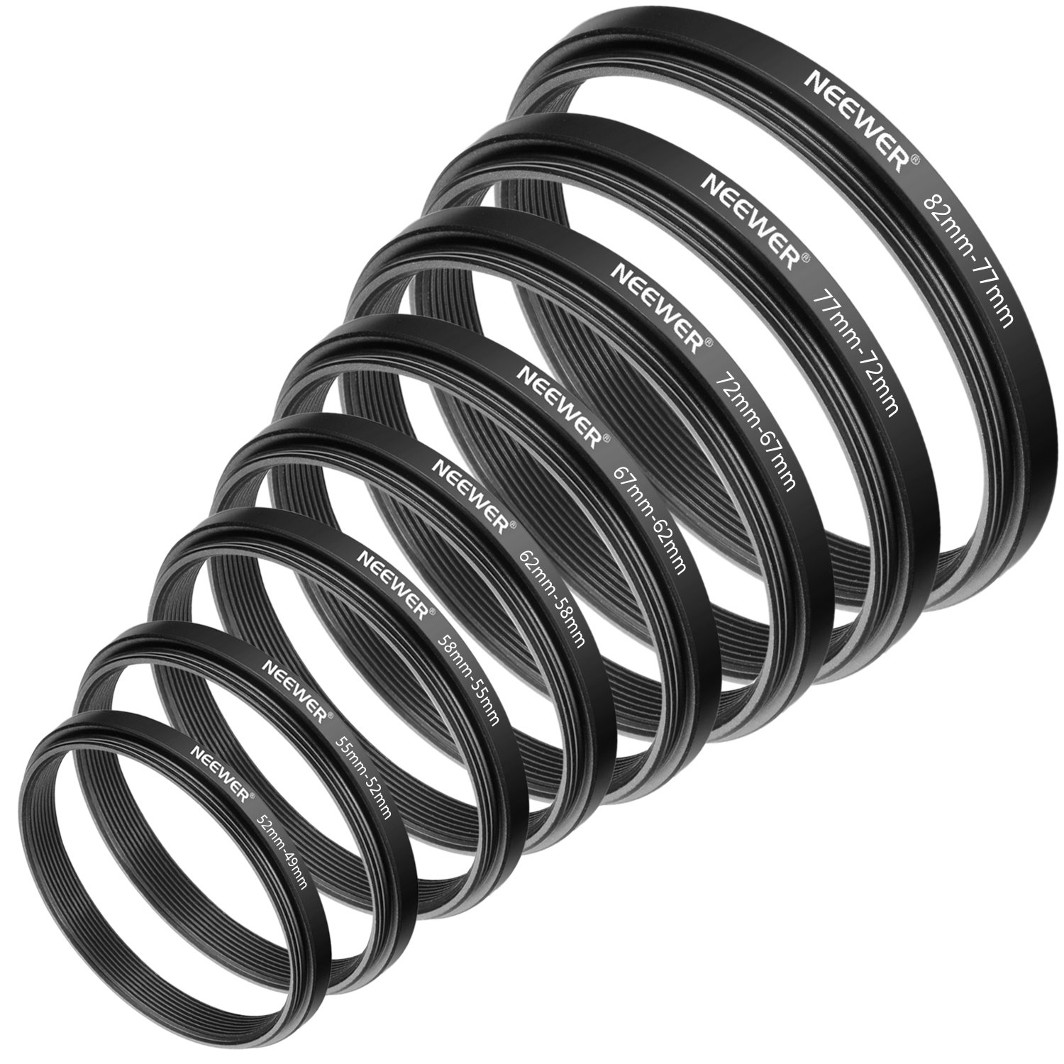 Neewer 8 Pieces Step-down Adapter Ring Set Made of Premium Anodized Aluminum,includes: 52-49MM,55-52MM,58-55MM,62-58MM,67-62MM,72-67MM,77-72MM,82-77MM(Black) by Neewer
