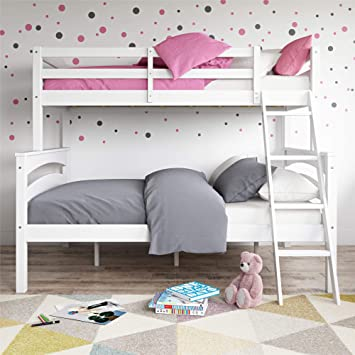 Amazon Com Dorel Living Brady Twin Over Full Solid Wood Kid S Bunk Bed With Ladder White Furniture Decor
