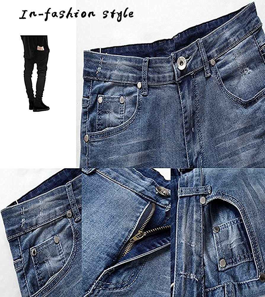 Mens Casual Destroyed Ripped Slim Stretch Skinny Jeans