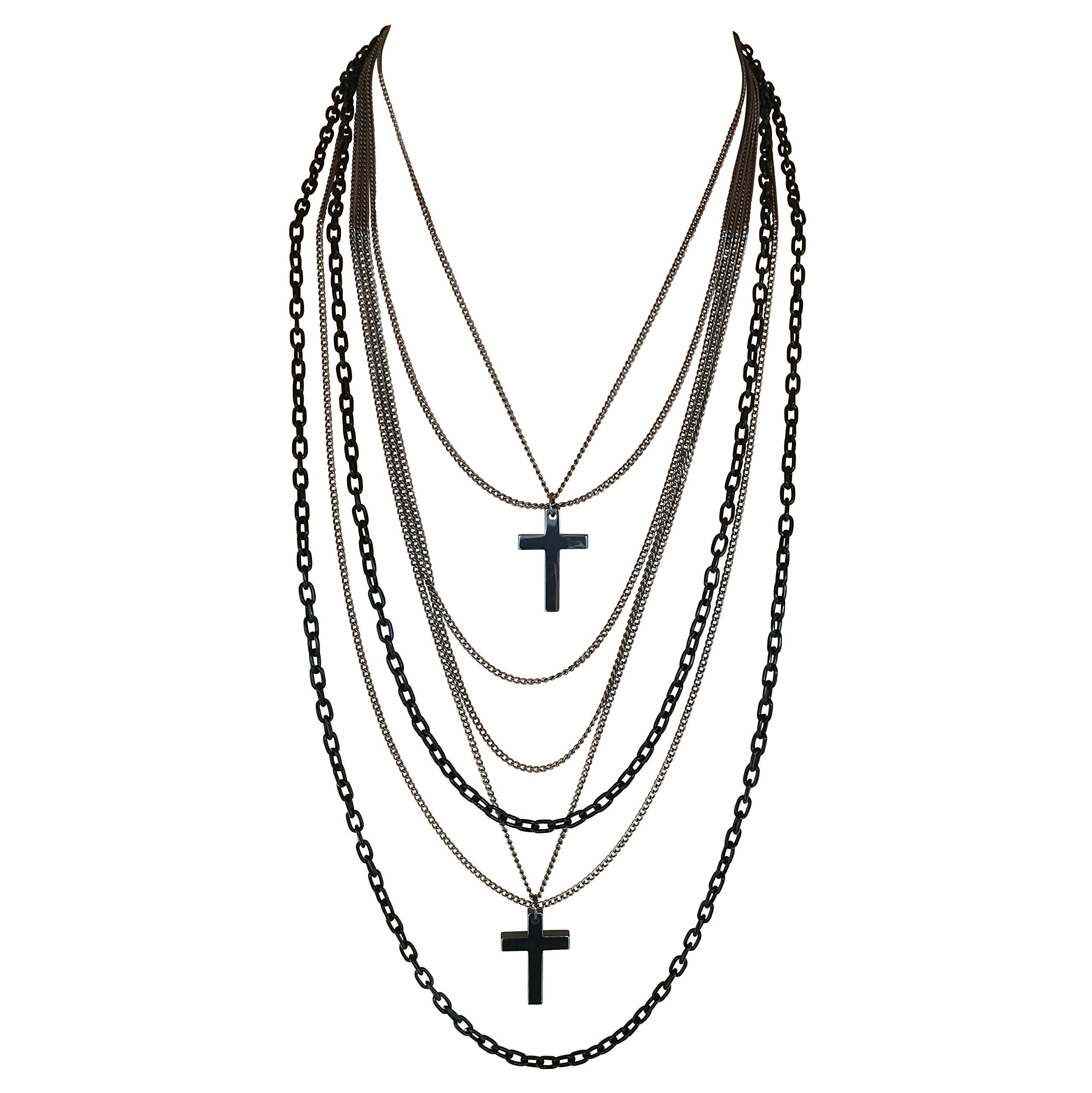 Multilayer Black and Gunmetal Chains and Crosses 80's Gothic Retro Long Fashion Necklace by DragonWeave