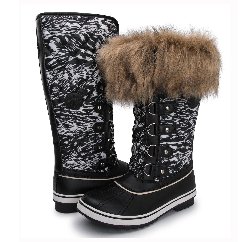 Kingshow Women's Globalwin 1707black Print Waterproof Winter Boots - 7 D(M) US Women's