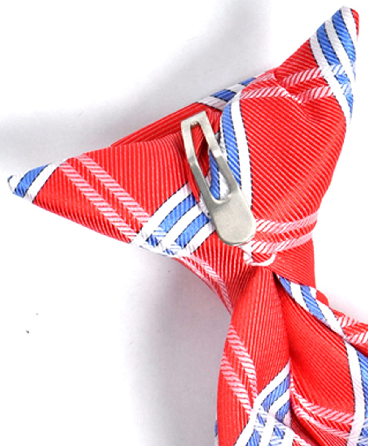 Boys Youth Red Microfiber Cross Stripe Clip On Tie