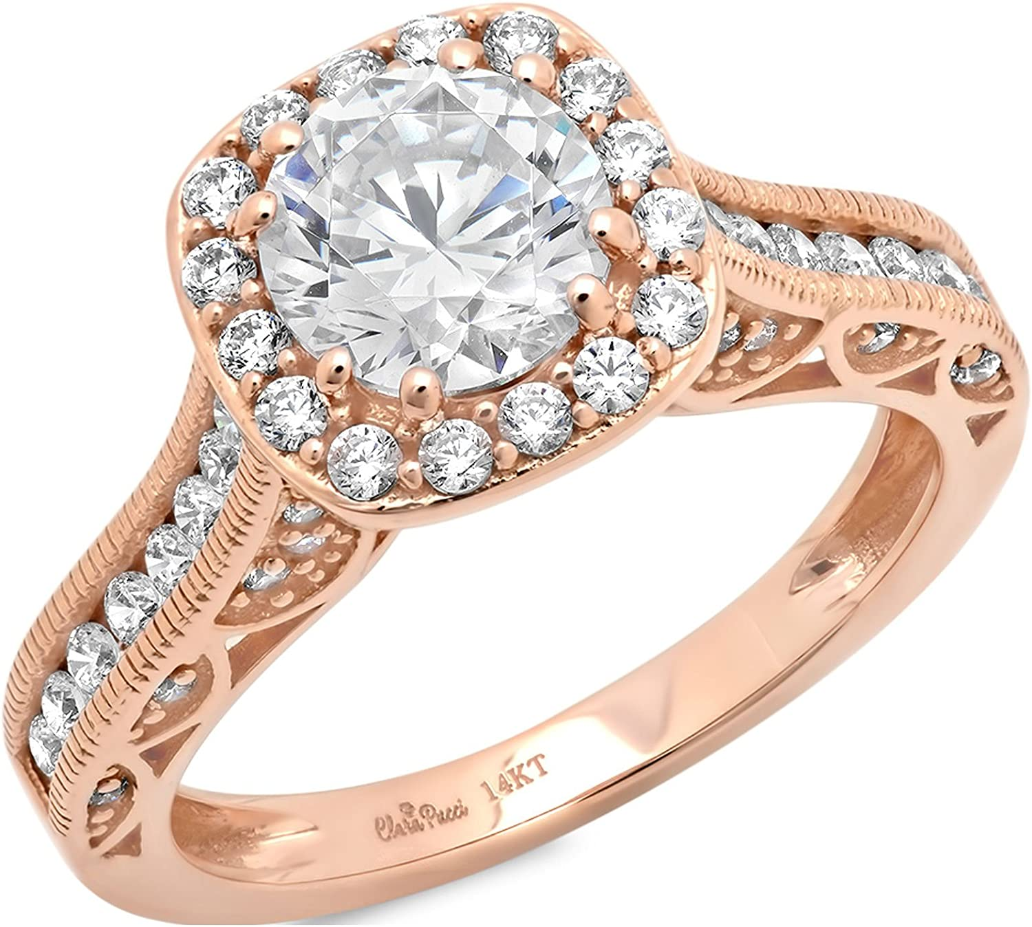 Clara Pucci 1.8 CT Round Cut Pave Halo Anniversary Promise Wedding Bridal Engagement Ring Band 14k Rose Gold