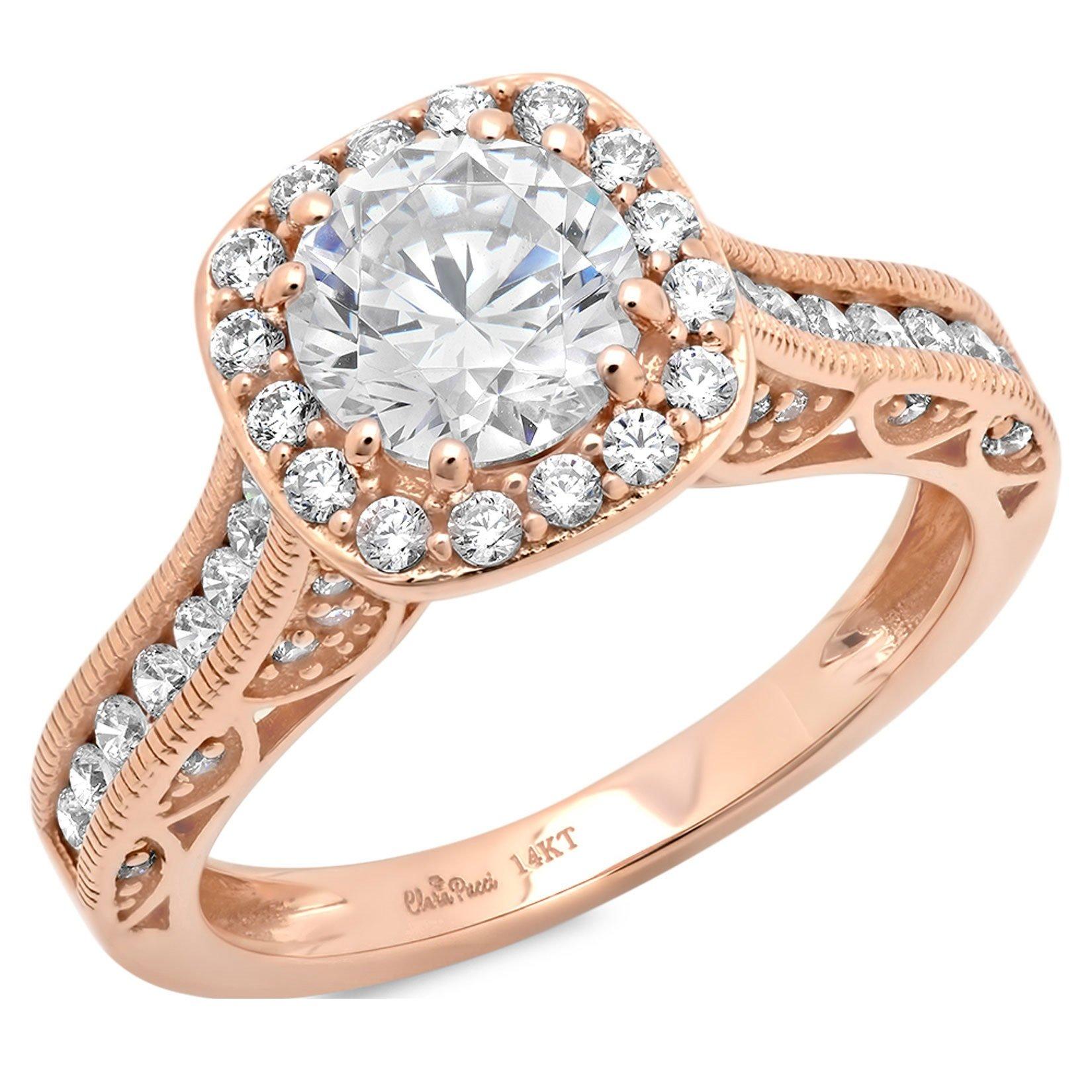 Clara Pucci 2.0 CT Round Cut CZ Pave Halo Wedding Bridal Engagement Ring Band 14k Rose Gold, Size 3.5 by Clara Pucci