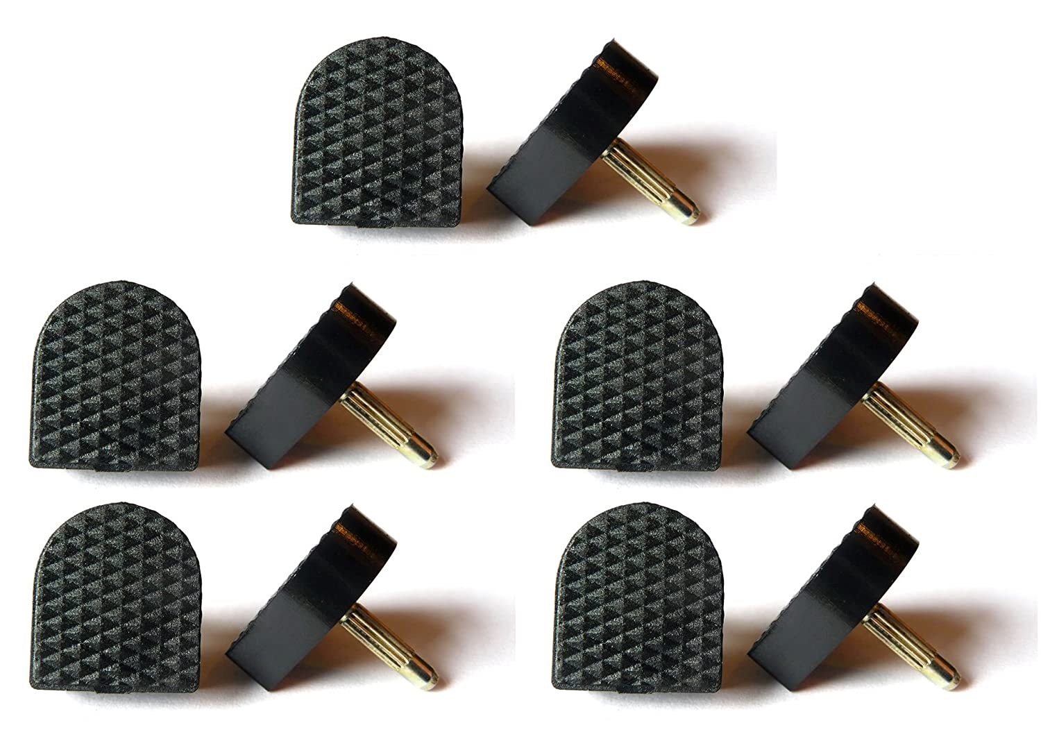5x Pairs Black Replacement Stiletto High Heel Tips - 16mm x 18.5mm (5/8 inch) - U-Shape (Pair) The Little Cobbler