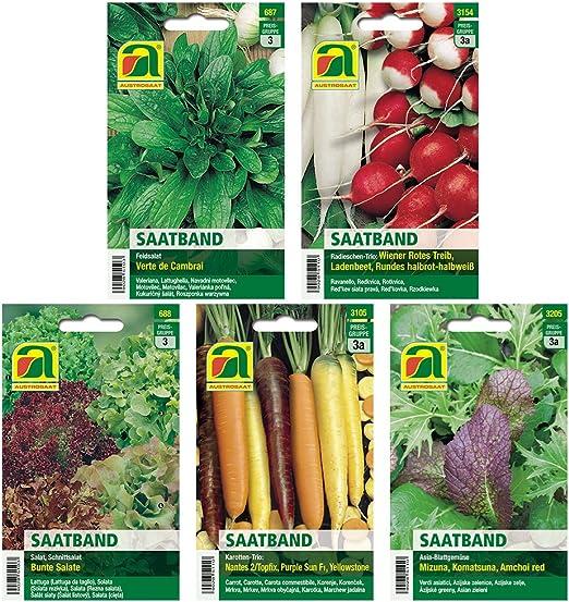 5 variedades | Surtido de Saatband de semillas vegetales: Amazon ...