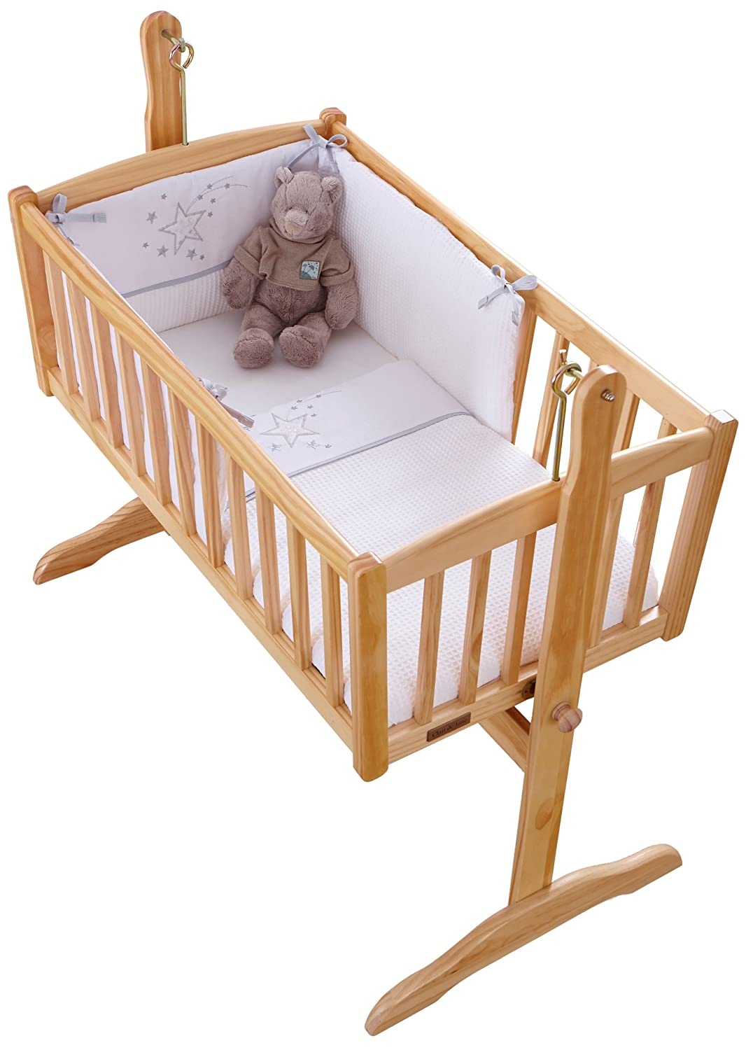 Clair de Lune Stardust Rocking Crib/Cradle Quilt and Bumper Set (White) BabyCenter CL4816W