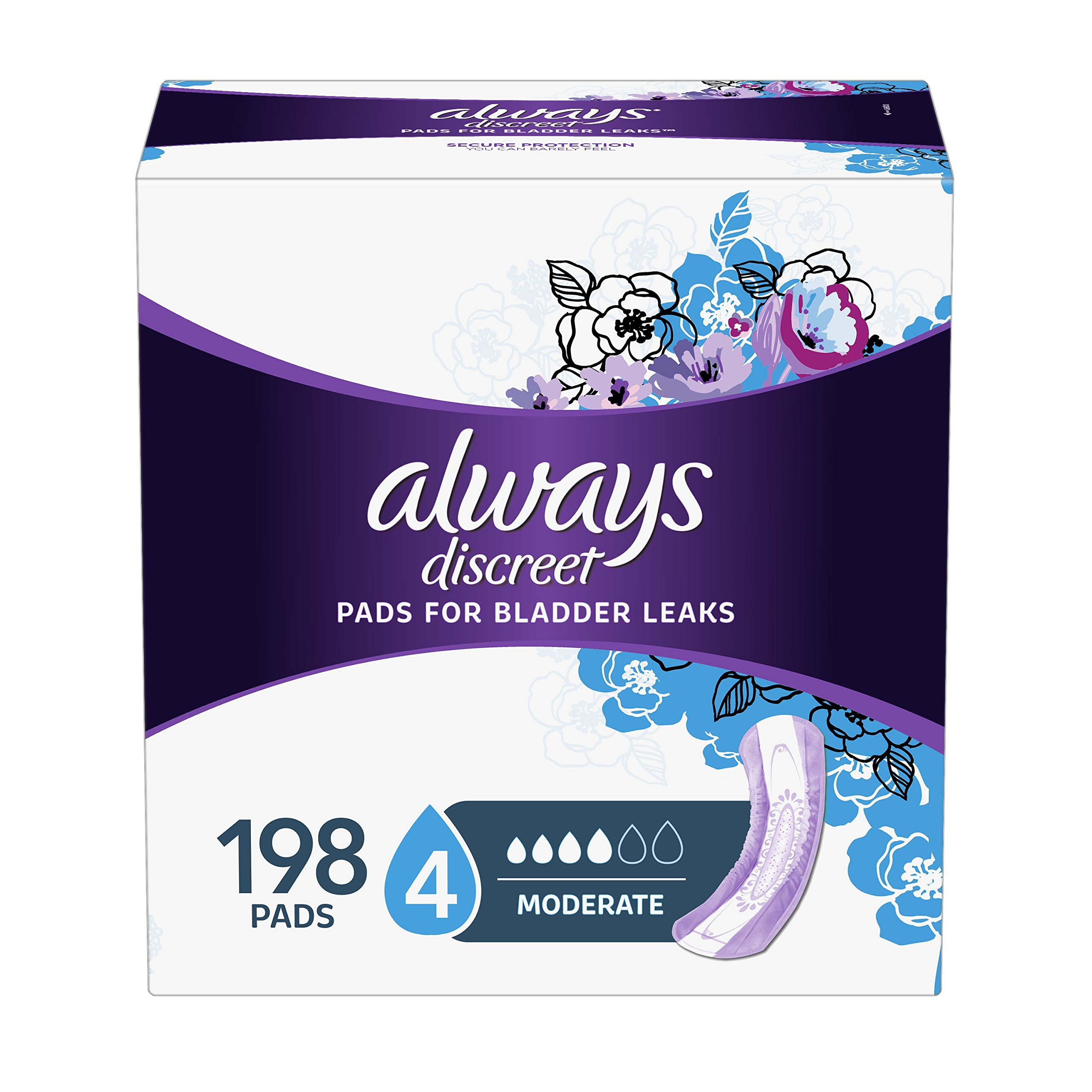 Always Discreet Incontinence Pads for Women, Moderate Absorbency, Regular Length, 66 Count-