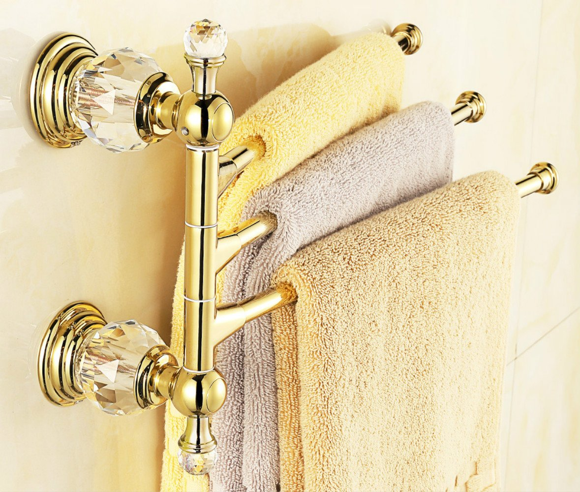 Durable Service Auswind Antique Polished Gold Brass Towel Rack 3 Arms Crystal Copper