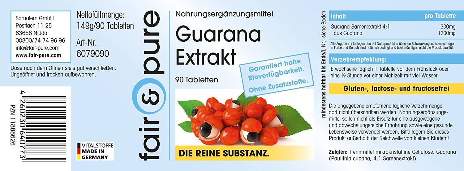 Extracto de guaraná 300mg, extracto 4:1 de 1200mg Guaraná ...