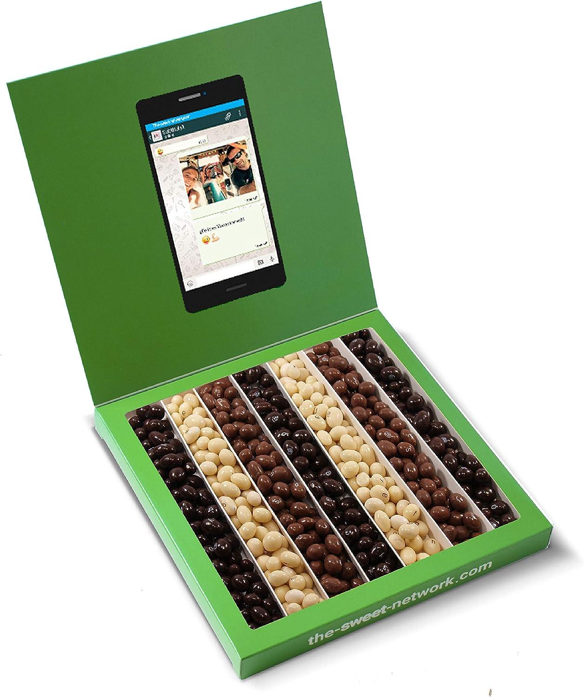 Caja golosinas Whatsapp 23x23cm con mensaje personalizado, su interior contiene 540g de Conguitos: Amazon.es: Alimentación y bebidas