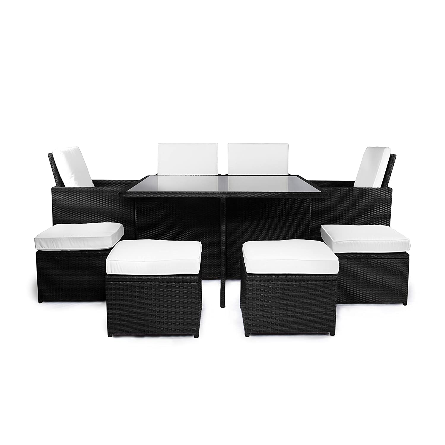 vanage gartenm bel set sydney in schwarz wei rattan optik polyrattan lounge m bel f r. Black Bedroom Furniture Sets. Home Design Ideas