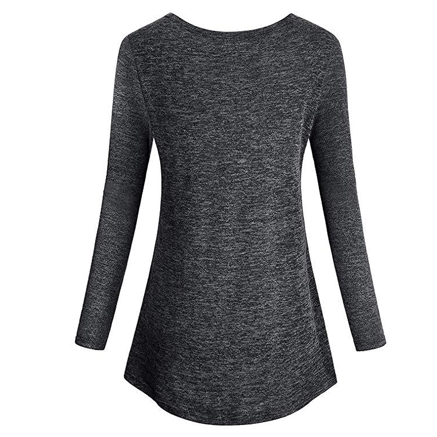 es-uk Womens Casual Long Sleeve V Neck Relaxed Fit Flare Waist Line Tunic Sweater Top T Shirt